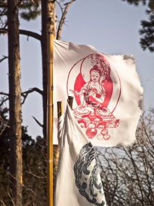 red buddha prayer flag